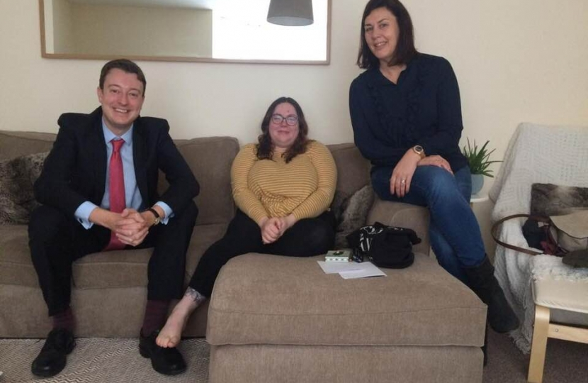 Simon meeting Amanda fro ECYHT and tenant Annabel