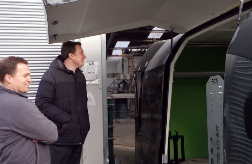 Simon learning about the features of Eco-Trailer products