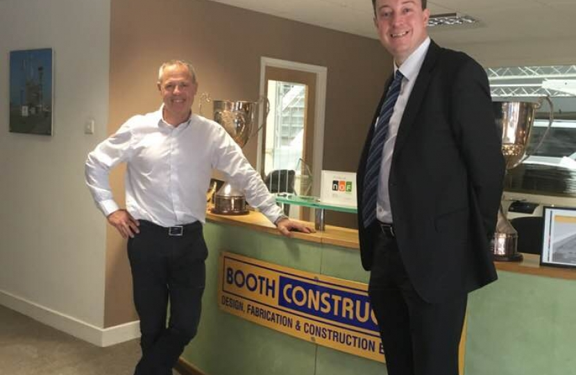 Simon with Shaun Muir during his visit to Booths