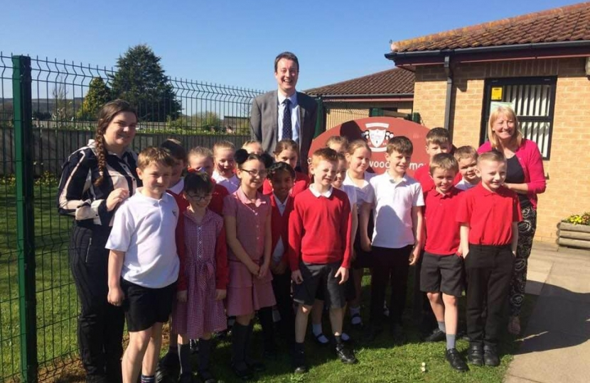 Simon visiting Lockwood Primary School