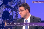Simon appearing on Sunday Politics