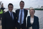 Simon and Ben visiting Teesport with Liz Truss